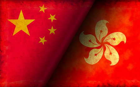 Grunge Country Flag Illustration / China vs Hong Kong (Political or Economic Conflict) Zdjęcie Seryjne