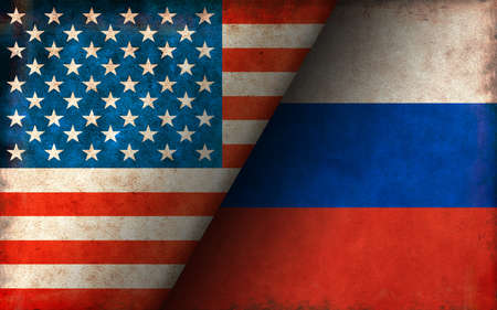 Grunge Country Flag Illustration / USA vs Russia (Political or Economic Conflict)