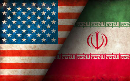 Grunge Country Flag Illustration / USA vs Iran (Political or Economic Conflict)