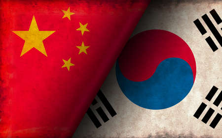 Grunge Country Flag Illustration / China vs South Korea (Political or Economic Conflict)