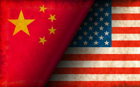 Grunge Country Flag Illustration / China vs USA (Political or Economic Conflict)