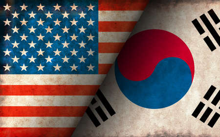 Grunge Country Flag Illustration / USA vs South Korea (Political or Economic Conflict)