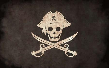 Dirty Pirates Flag Illustration / skull and bones