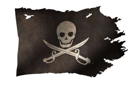 Dirty and Torn Pirates Flag Illustration / skull and bones