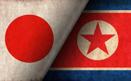 Grunge country flag illustration / Japan vs North korea (Political or economic conflict, Rival)