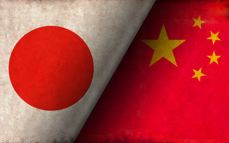 Grunge country flag illustration / Japan vs China (Political or economic conflict, Rival )