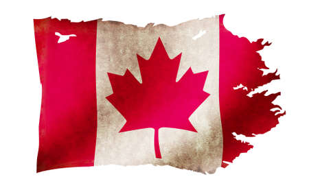 Dirty and torn country flag illustration / Canada Imagens