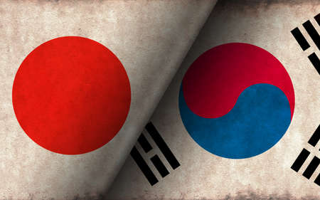 Grunge country flag illustration / Japan vs South korea (Political or economic conflict, Rival )