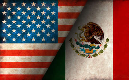 Grunge country flag illustration / USA vs. Mexico (Political or economic conflict, Rival ) Imagens