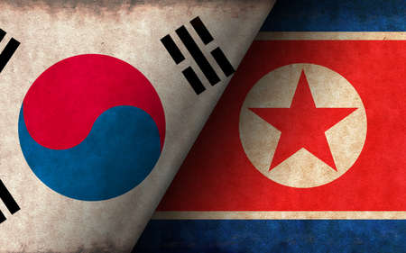 Grunge country flag illustration / South korea vs North korea (Political or economic conflict, Rival )