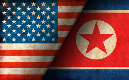 Grunge country flag illustration / USA vs. North korea (Political or economic conflict, Rival)