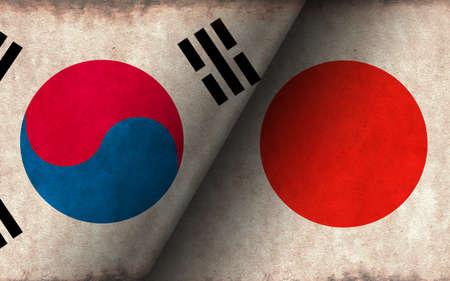 Grunge country flag illustration / South korea vs Japan (Political or economic conflict, Rival)