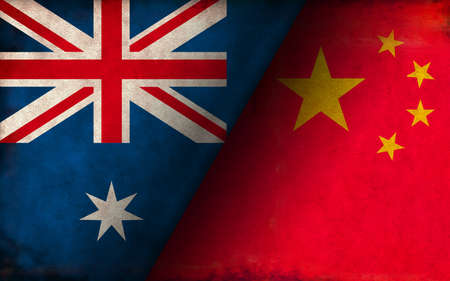 Grunge country flag illustration / China vs Australia (Political or economic conflict, Rival )