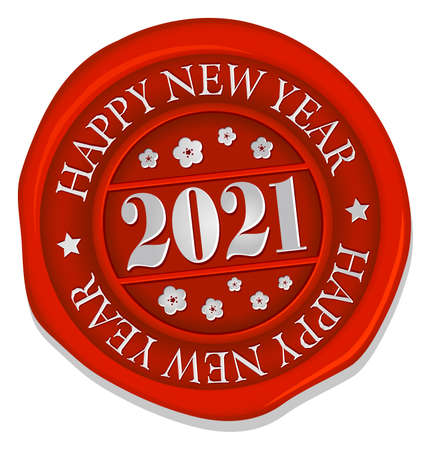 2021 Sealing Wax Stamp Vector Illustration / A Happy New Year