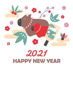 2021 new year greeting card template illustration / carrion ox (cow) family education Vector Illustration