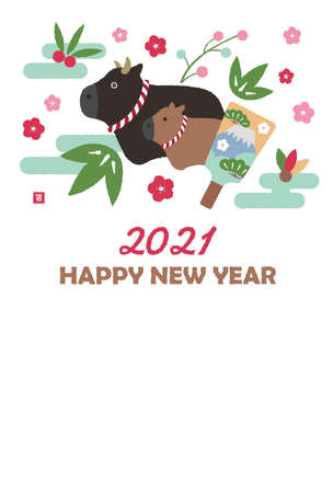 2021 new year greeting card template illustration / carrion ox (cow) family education