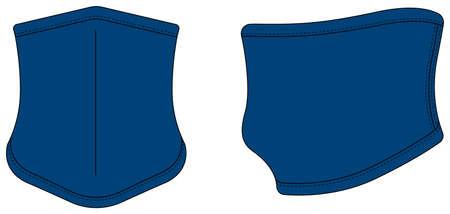 Neck Gaiter, neck warmer vector template illustration / blue