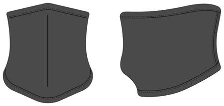 Neck Gaiter, neck warmer vector template illustration / charcoal, dark gray
