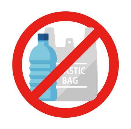 Plastic waste (paltic caution) vector icon illustration (forbidden mark) / ecology, recycle symbol