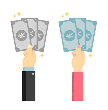 Hand holding money (bills) vector illustration set /japanese yen