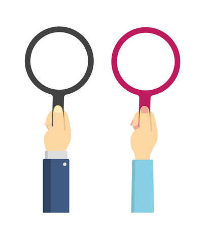 Hand holding magnifying glass vector illustration set
