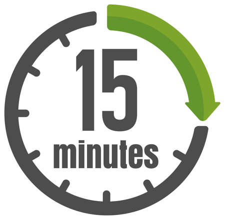 Clock , timer (time passage) icon / 15 minutes