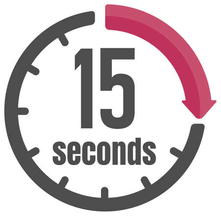 Clock , timer (time passage) icon / 15 seconds Ilustracja
