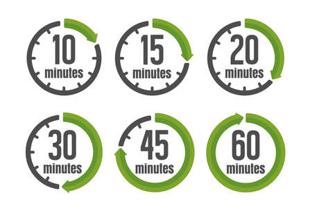 Clock , timer (time passage) color icon set ( form 10 minutes to 60 minutes)