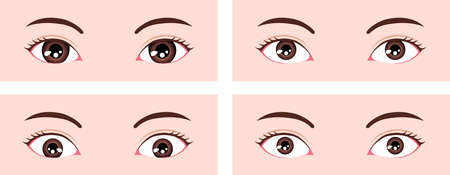 Various eye shapes (different eyeball size and position ) vector illustration ( Classifications in Asia )