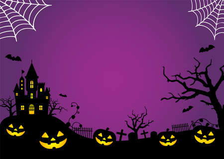 Halloween silhouette background vector illustration. Poster (flyer) template design (with text space) / orange