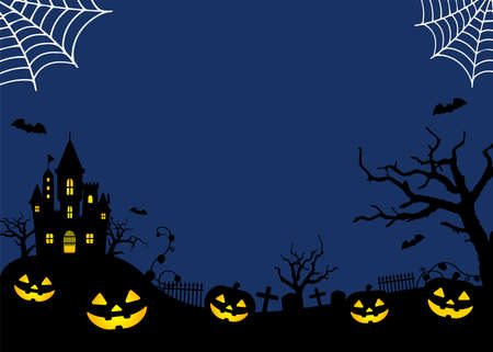 Halloween Silhouette Background Vector Illustration. Poster (flyer) template design / Blue