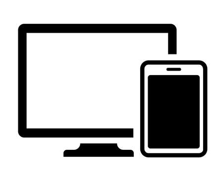 PC, smartphone (digital devices) flat vector icon illustration Ilustracja