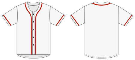 Jersey shortsleeve shirt (baseball uniform shirt) template vector illustration / white x red