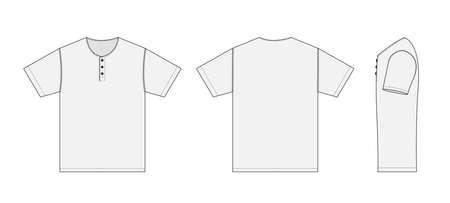 shortsleeve shirt (Henry neck) template vector illustration with side view / white Vektorové ilustrace