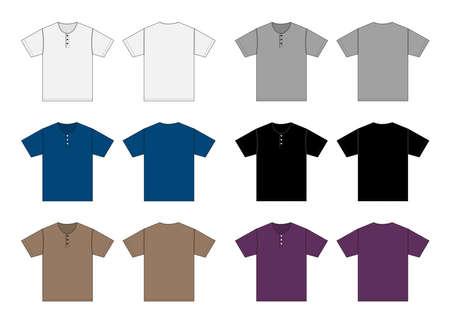 Short-sleeve shirt (Henry neck) template vector illustration