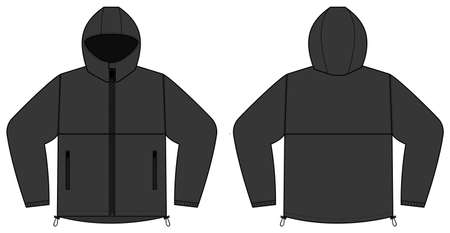 windproof hooded jacket ( parka) vector illustration / black