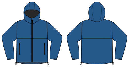 windproof hooded jacket ( parka) vector illustration / blue
