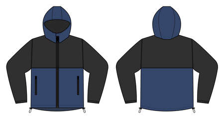 windproof hooded jacket (parka) vector illustration / black & blue