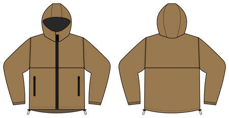 windproof hooded jacket (parka) vector illustration / brown