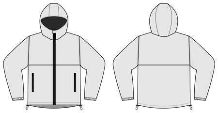 windproof hooded jacket ( parka) vector illustration / white