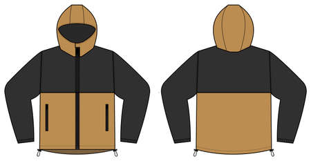 windproof hooded jacket (parka) vector illustration / black & brown
