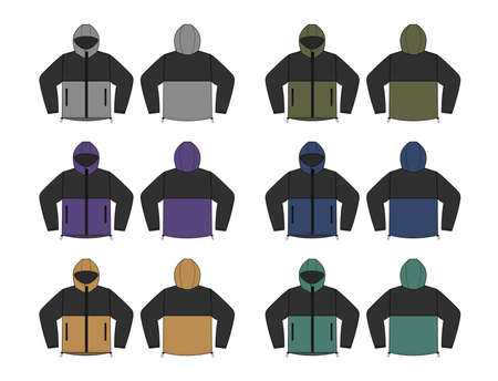 windproof hooded jacket ( parka) vector illustration set Иллюстрация