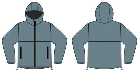 windproof hooded jacket (parka) vector illustration / gray