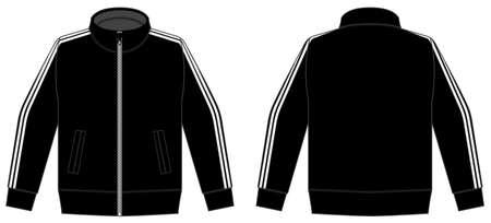Longsleeve jersey shirt (sports training jacket) vector illustration / black and white