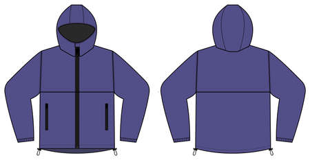 windproof hooded jacket ( parka) vector illustration / purple