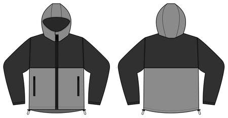 windproof hooded jacket (parka) vector illustration / black & gray