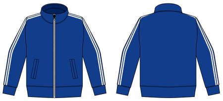 Longsleeve jersey shirt (sports training jacket) vector illustration / blue and white