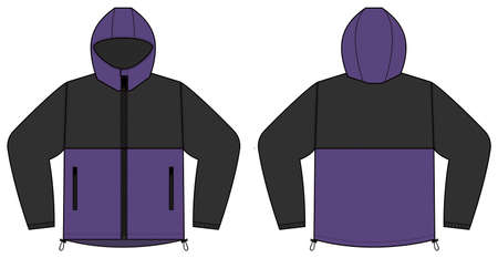 windproof hooded jacket (parka) vector illustration / black & purple