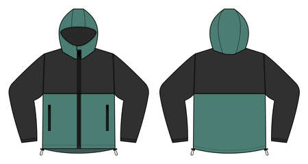 windproof hooded jacket (parka) vector illustration / black & green