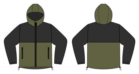 windproof hooded jacket (parka) vector illustration / black & khakki